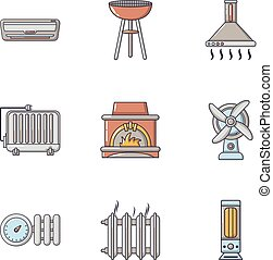 Warmth icons set, cartoon style