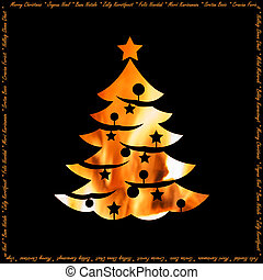 Warmth of holidays christmas card with xmas tree silhouette