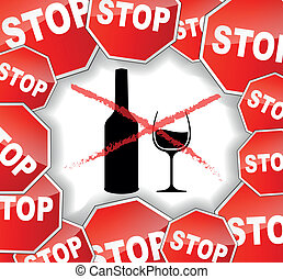 Vector illustration of warning alcohol background concept
