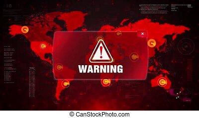 Warning Alert Warning Attack on Screen World Map Loop Motion.