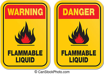 warning and danger flammable liquid