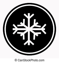 Warning and danger sign of snow attention symbol black circle