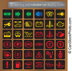 Warning and indicator car display icons set - 36 warning and...