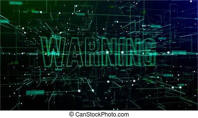 'warning', animatie, tekst, digitale , ruimte