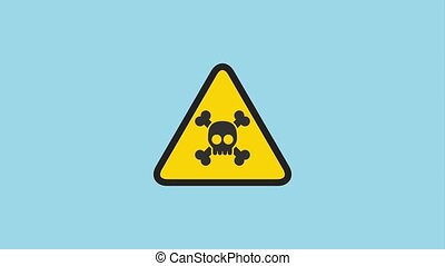 warning attack virus sign with skull and bones animation hd