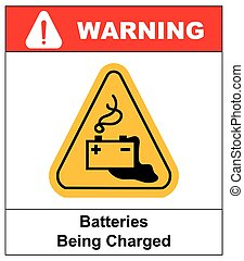 Warning battery charging sign