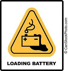 Warning battery charging sign