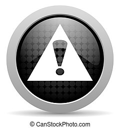 warning black circle web glossy icon
