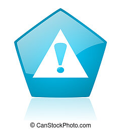 warning blue pentagon web glossy icon
