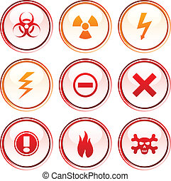 Warning buttons. - Warning button set. Vector illustration.