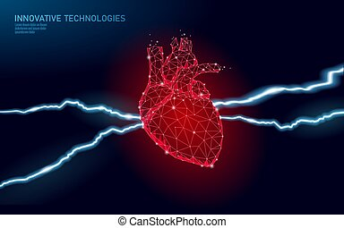 warning., cardiologie, 3d, orgue, crise cardiaque, vecteur, ...