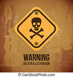 warning design over vintage background vector illustration