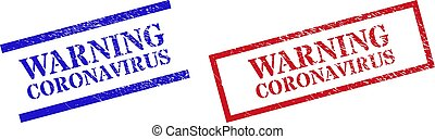 WARNING CORONAVIRUS Grunge Scratched Stamp Watermarks with Rectangle Frame