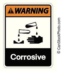 Warning Corrosive Symbol Sign on white background