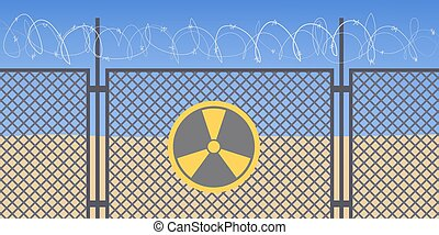Warning sign, danger zone with radiation. Iron fence and barbed wire. Cataclysm, environmental damage idea. Isolated vector illustration in cartoon style