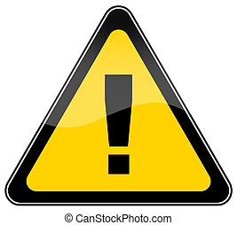 Warning danger sign on white background