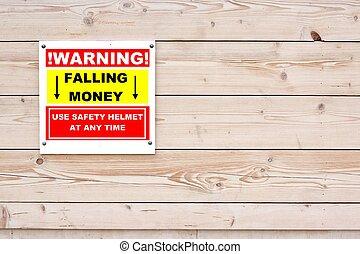 WARNING FALLING MONEY Sign