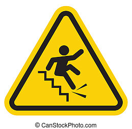 Warning falling off the stairs sign