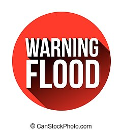 Warning Flood sign red vector
