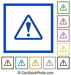 Set of color square framed warning flat icons on white background