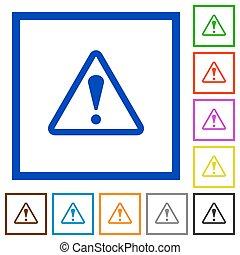 Warning framed flat icons - Set of color square framed ...