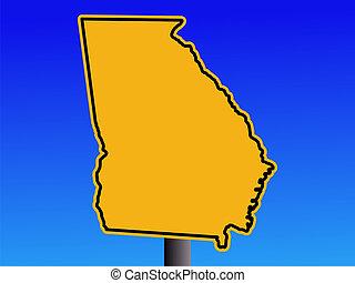 warning Georgia sign - Warning sign in shape of Georgia on...
