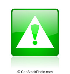 warning green square web glossy icon