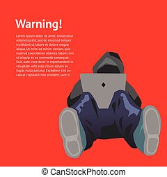 Warning hacker attack vector illustration design concept