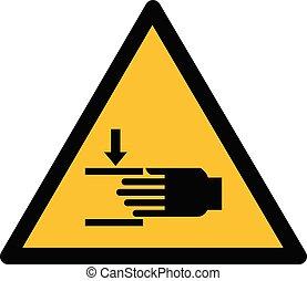 Warning hand crushing yellow sign, symbol