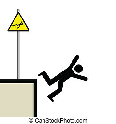 man falling - Warning hazard sign and signage man falling