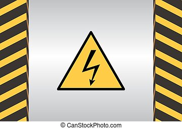 Warning Hazard Signs - Warning sign of electric danger and...