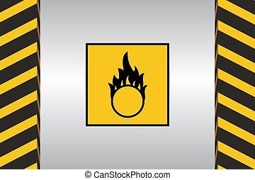 Warning Hazard Signs - Warning sign of oxidizer danger and...