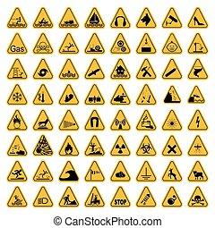 Warning Hazard Triangle Signs Set. Vector illustration. Yellow symbols isolated on white