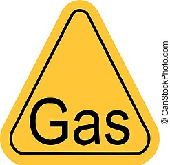 Warning icon of Gas in yellow triangle.