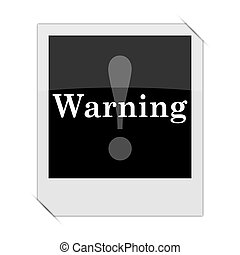 Warning icon within a photo on white background