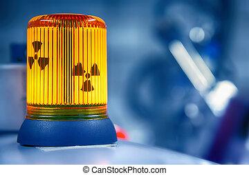 Warning lamp radioactive radiation in a biochemistry lab