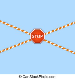 Warning lines and stop sign on a white background.