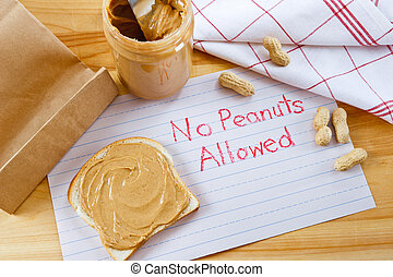 Warning - No Peanuts Allowed - Overhead view of peanut...
