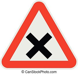 Warning of intersection road icon, flat style.