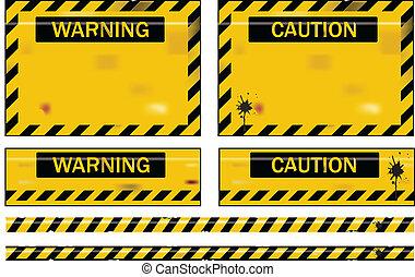 Warning - Old worn grungy yellow and black warning signs