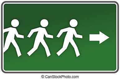 warning or escape route sign - abstract running figures on...