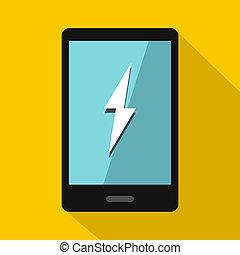 Warning phone icon, flat style