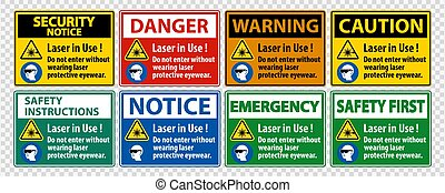 Warning PPE Safety Label, Laser In Use Do Not Enter Without ...