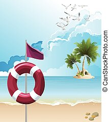 Warning red flag on beach