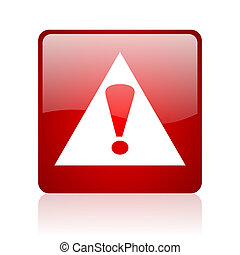 warning red square web glossy icon