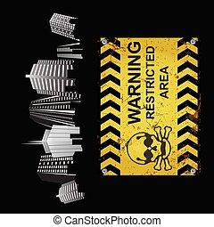 Warning restricted area sign city