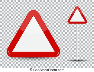 Warning Road Sign on transparent background Red Triangle. Vector Illustration.