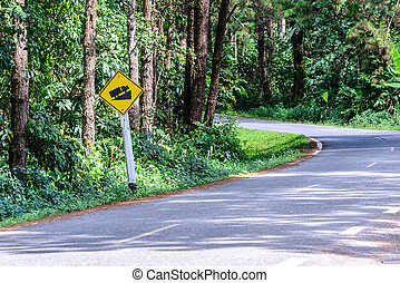 Warning road sign up to hill, use low gear.