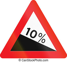 Warning road sign used in Denmark - Steep hill downward