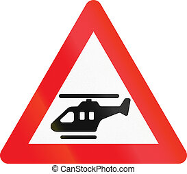 Warning road sign used in Denmark - Low-flying helicopters
